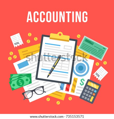Accounting, bookkeeping, check financial statements, corporate paperwork concept. Top view. Modern flat design graphic for websites, web banners, etc. Red background. Creative vector illustration