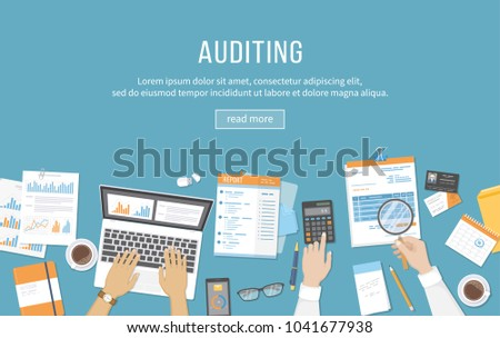Accounting, business meeting, auditing,  calculation, data analysis, reporting. People at work. Human hands on a table with documents, graphs, charts, notebook, phone, laptop, business card. Vector