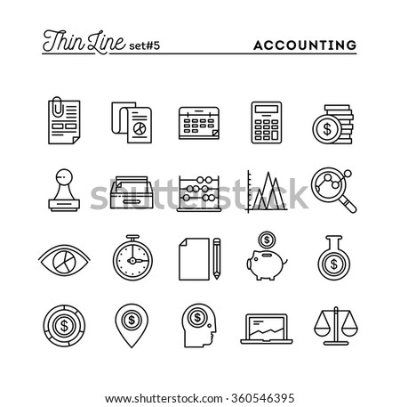 Accounting, business statistics, time, money management and more, thin line icons set, vector illustration