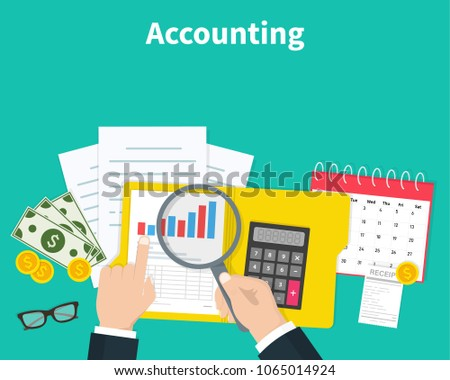 Accounting. Businessman accounting, planning strategy, analysis, marketing research, financial management. Business meeting, teamwork, brainstorming. Team of businessmen in work Vector illustration