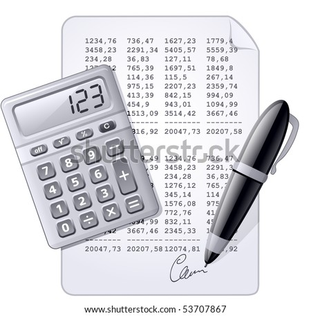 Accounting. Calculator, pen and and financial report. Vector illustration. (blue toned version)