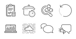Accounting checklist, Cloud system and Web analytics icons set. Boiling pan, Messenger and Recovery data signs. Vector