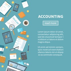 Accounting concept. Tax calculation. Financial analysis, planning, analytics, statistics, data analysis, research. Documents, forms, charts, graphs, calendar, calculator, notebook. Vector