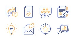 Accounting, Copywriting and Open mail line icons set. Idea, Ranking star and Approved checklist signs. Star target, Graph chart symbols. Supply and demand, Ð¡opyright signature. Vector