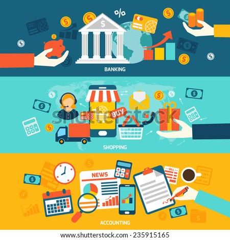 Accounting flat banners set with banking shopping and finance elements isolated vector illustration.