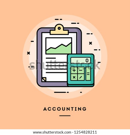 Accounting, flat design thin line banner, usage for e-mail newsletters, web banners, headers, blog posts, print and more. Vector illustration.