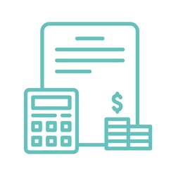 Accounting icon. Blank with calculator and money line icon. Pixel perfect. Vector Illustration.