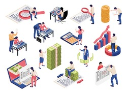 Accounting process isometric set with financial documents analyzing reporting tax collection control magnifier banknotes symbols vector illustration
