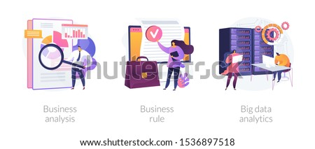 Accounting service, corporate policy, global statistical research icons set. Business analysis, business rule, big data analytics metaphors. Vector isolated concept metaphor illustrations