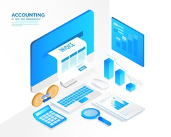 accounting system, isometric blue light concept. there are computer laptop tax invoice and graph screen. vector illustration