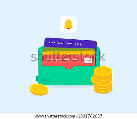 accumulate points and receive an alarm using the card in the card wallet illustration set. bank, speech bubble, dollar, number. Vector drawing. Hand drawn style. Foto stock ©