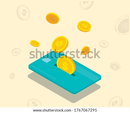 accumulate points on a credit card illustration set. gold, finance, point, dollar. Vector drawing. Hand drawn style.