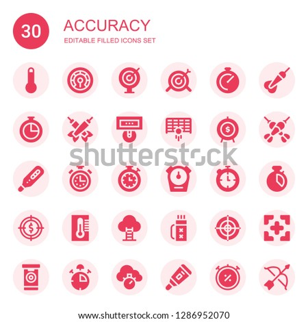 accuracy icon set. Collection of 30 filled accuracy icons included Thermometer, Darts, Target, Chronometer, Goal, Stopwatch, Quiver, Dartboard, Dart, Stop watch, Archery