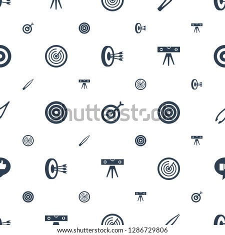 accuracy icons pattern seamless white background. Included editable filled arrows in target, target, tweezers, level ruler, thumb up icons. accuracy icons for web and mobile.