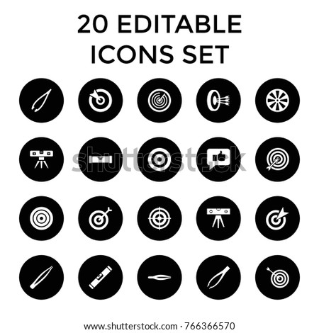 Accuracy icons. set of 20 editable filled accuracy icons such as level ruler, tweezers, target, dart, thumb up
