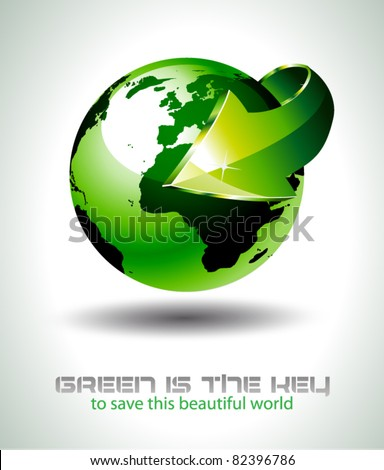 Accurate 3D Earth Design with Green tones and a big arrow pointing to the center of the planet. Ideal for green and ecology purposes.