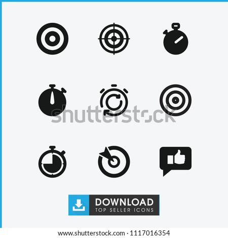 Accurate icon. collection of 9 accurate filled icons such as stopwatch, target. editable accurate icons for web and mobile.