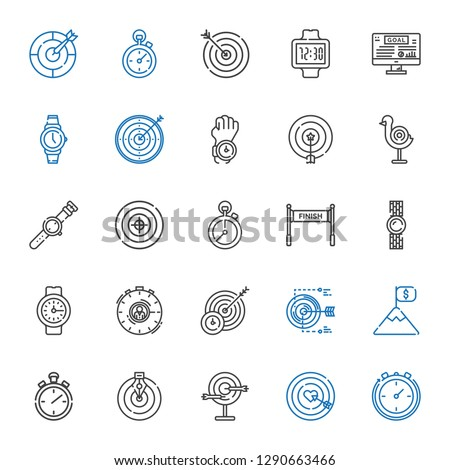 accurate icons set. Collection of accurate with stopclock, dart board, goal, stopwatch, target, watch, finish. Editable and scalable accurate icons.