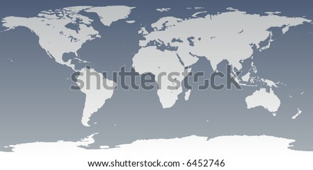 Accurate map of world. Includes Antarctica. Maps to 3d sphere to make a globe - accurate latitude longitude.  islands - Hawaii, Aleutians, Galapagos, Maldives, Canary. Lakes of USA, Africa, Russia.