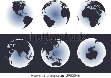 Accurate maps of the world on globes. Includes Antarctica. Also includes many islands - Hawaii, Aleutians, Galapagos, Maldives, Canary, etc. Lakes of the USA, Africa, Russia.