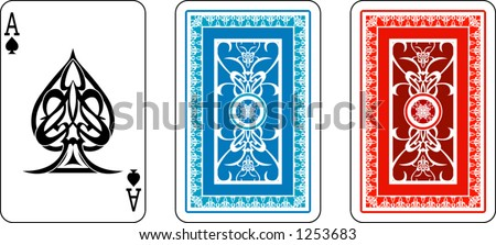 Ace and matching back from deck of playing cards, rest of deck also available.