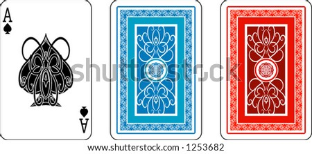 Ace and matching back from deck of playing cards, rest of deck available.