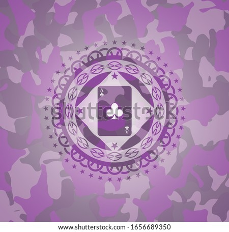 ace of clover icon on pink camo