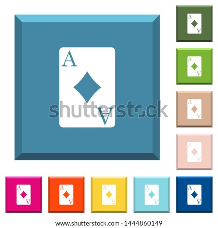 Ace of diamonds card white icons on edged square buttons in various trendy colors