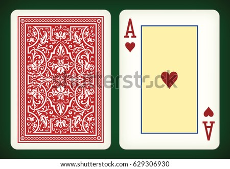 Ace of hearts - playing cards vector illustration