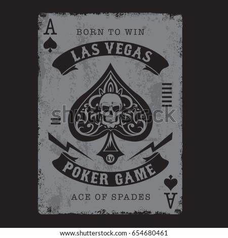 Ace of spades poker typography, tee shirt graphics, vectors, skull