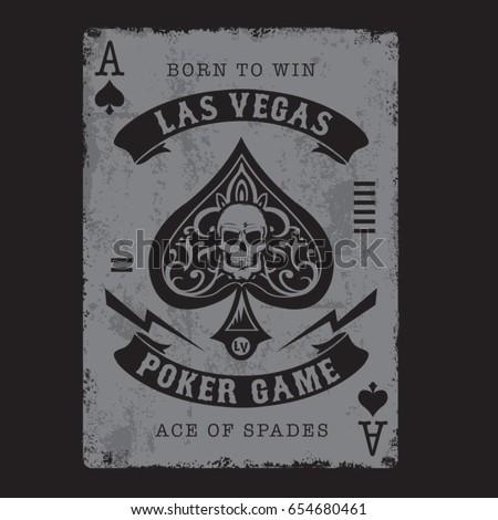 Ace of spades poker typography, tee shirt graphics, vectors, skull