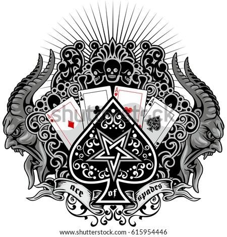 ace of spades with skull with