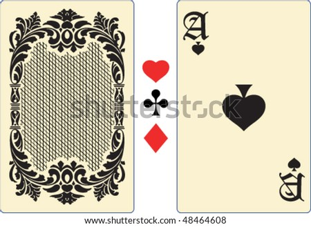 Ace playing card with back