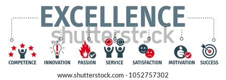 Achieve Business Excellence as concept. Vector illustration with keywords and icons