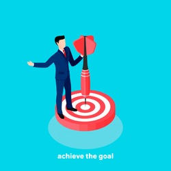 achieve the goal, man in a business suit with a dart in his hand, image in an isometric style