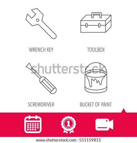 Achievement and video cam signs. Wrench key, screwdriver and paint bucket icons. Toolbox linear sign. Calendar icon. Vector