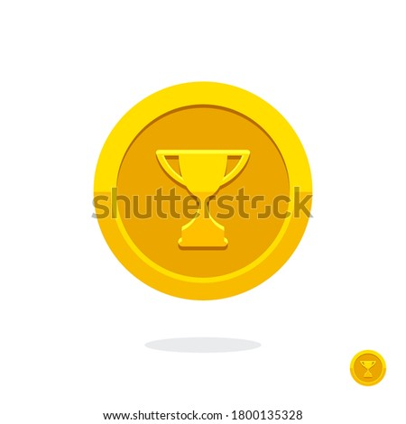 Achievement badge. Achievement or award grant. Winner's trophy icon. Symbol of victory. Goblet icon. Champion trophy cup. Sport cup on stand. Reward badge. Gold medal. Coin with the goblet. Coin icon.