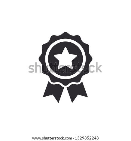 Achievement badge. Certificate icon. Premium quality. Profile Verification. Achievement or award grant. Gold seal. Gold medal. Medal with a star. Star icon.