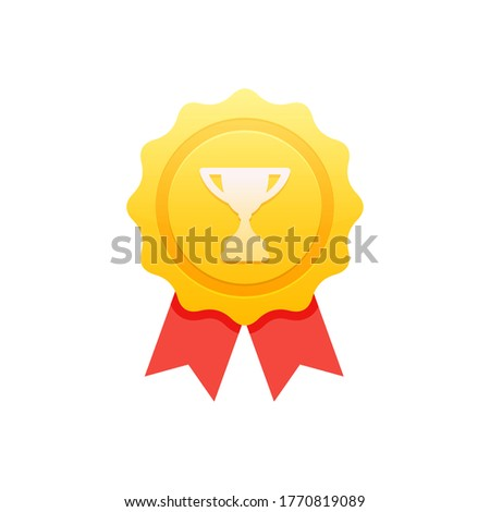 Achievement badge. Premium quality. Achievement or award grant. Winner's trophy icon. Symbol of victory. Goblet icon. Champion trophy cup. Sport cup on stand. Reward badge. First place. Quality mark.