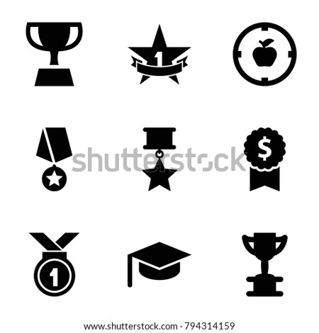 Achievement icons. set of 9 editable filled achievement icons such as trophy, dollar award, graduation hat, apple target, 1st place star, medal with star