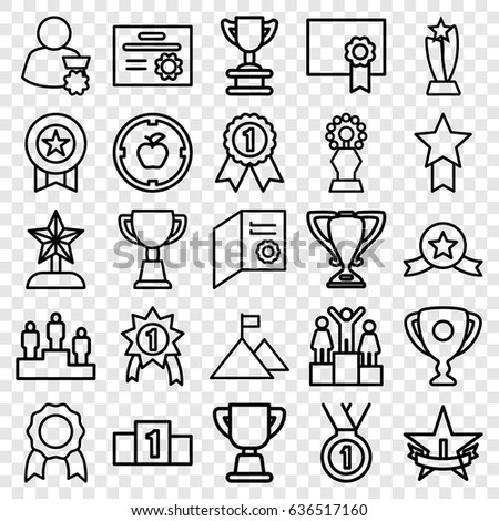 Achievement icons set. set of 25 achievement outline icons such as trophy, diploma, medal, ranking, 1st place star, star trophy, man with medal, flag on mountain