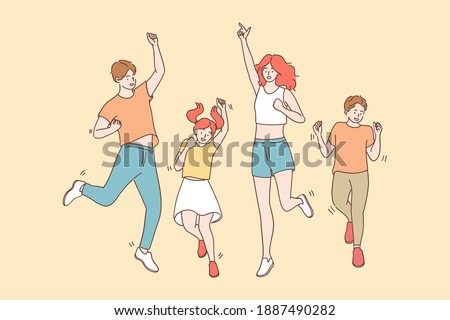Achievement, joy, celebration concept. Happy cheerful joyful big family with children jumping together celebrating luck and feeling great having fun vector illustration