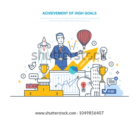 Achievement of high goals. Financial and career growth, success in business. Leadership, growth in work, entrepreneurial success, start-up. Strategic planning success. Illustration thin line design.
