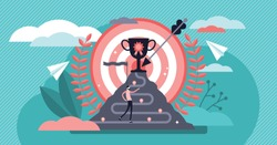 Achievement vector illustration. Flat tiny success award persons concept. Business growth and finance development strategy. Work promotion process and victory celebration. Successful businessman path.