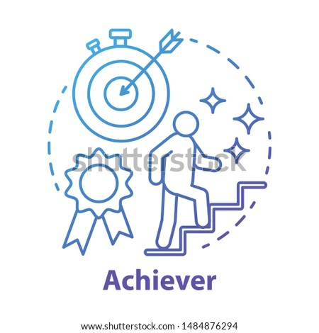 Achiever blue concept icon. Successful person idea thin line illustration. Goal achieving, winner. Reaching target. Personal growth, career ladder. Vector isolated outline drawing. Editable stroke