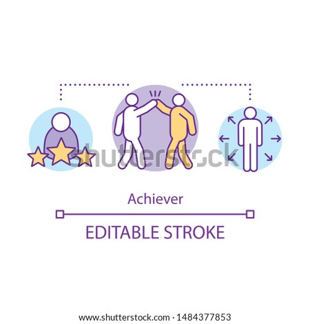 Achiever concept icon. Successful person idea thin line illustration. Goal achieving, winner. Teambuilding. Multitasking businessman. Personal growth. Vector isolated outline drawing. Editable stroke