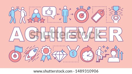 Achiever word concepts banner. Successful person. Goal achieving, reaching target.  Winner. Presentation, website. Isolated lettering typography idea with linear icons. Vector outline illustration