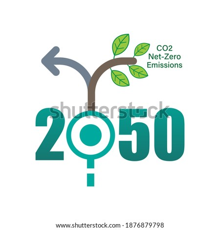 Achieving CO2 net-zero emissions by 2050 typographic design. Timeline junction infographic concept. Vector illustration outline flat design style. Stock fotó ©
