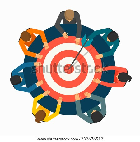 Achieving goal concept. Businesspeople  holding  target with arrow  on the table, vector illustration