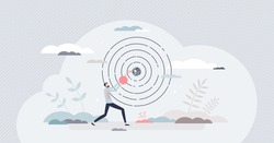 Achieving target and goal as achievement and success tiny person concept. Focus to center as business or career ambition efficiency vector illustration. Leadership challenge and perfect performance.
